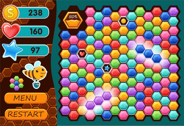 Interfejs gra komputerowa z pszczołą.