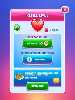 Interfejs gry ekran żywotności uzupełnienia energii.