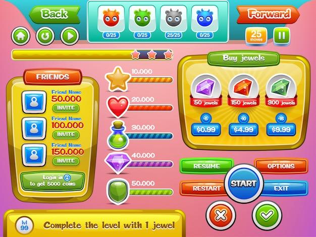 Interfejs gry i zestaw przycisków do gier lub aplikacji mobilnych. ilustracja. łatwe do edycji.