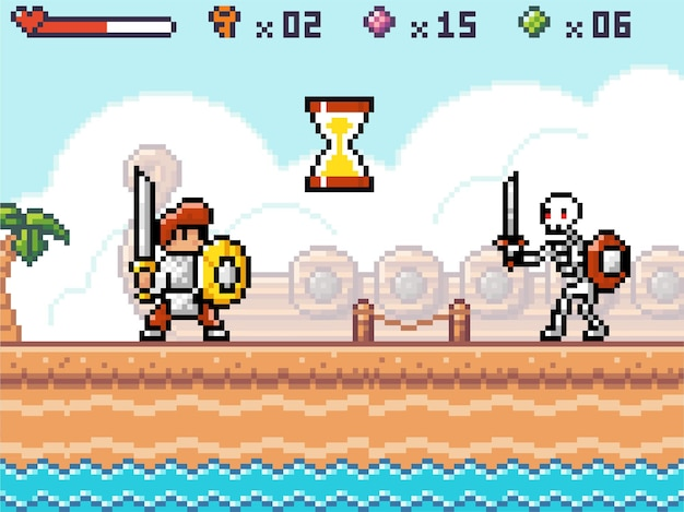 Interfejs gry pikselowej, bohatera lub rycerza gotowego do walki ze szkieletem