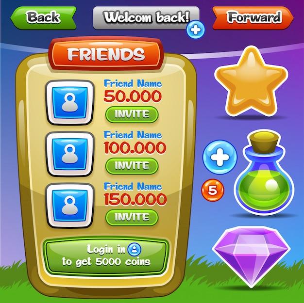 Interfejs gry. przyciski interfejsu ustawione dla gier lub aplikacji. łatwe do edycji. ilustracja.