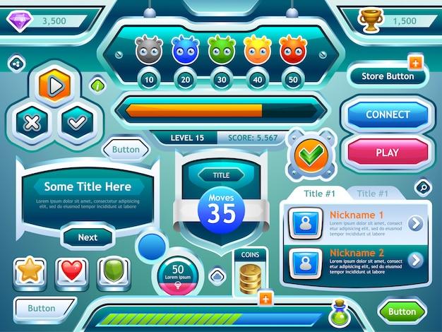 Interfejs gry. przykłady progresji ekranów, przycisków, pasków w grach komputerowych i mobilnych. .