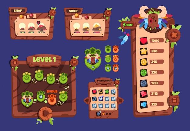 Interfejs gry w kreskówce. drewniane elementy i wyskakujące menu, przyciski i ikony. 2d interfejs gry wektor wzór