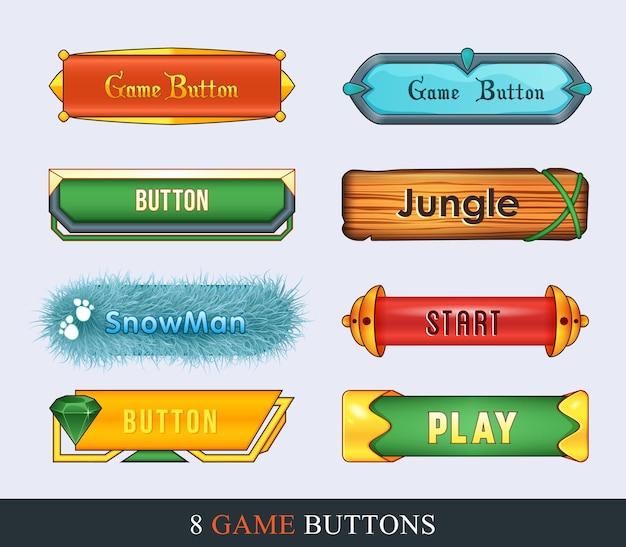 Interfejs gry zestaw przycisków w stylu kreskówkowym do tworzenia graficznego interfejsu użytkownika do tworzenia gier.