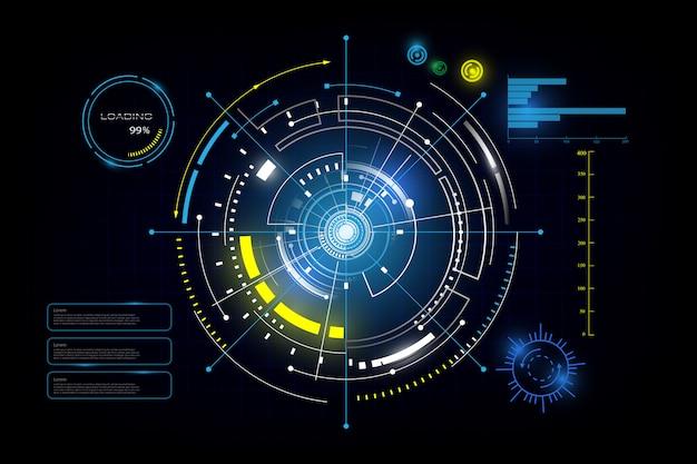 Interfejs hud gui futurystyczna technologia sieciowa tło