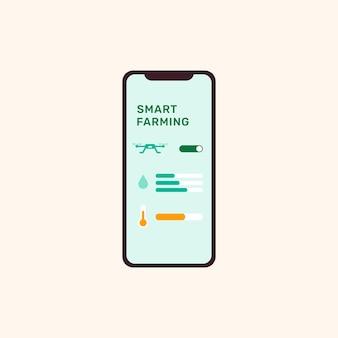 Interfejs inteligentnego kontrolera rolnictwa na ekranie smartfona