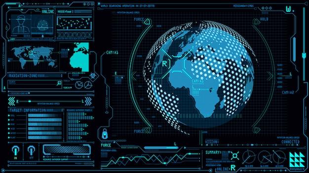 Interfejs interfejsu użytkownika z kulą ziemską 3d w tablicy poleceń panelu sterowania