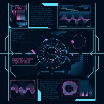 Interfejs internetowy do wyświetlania na ekranie statku kosmicznego, hud ui