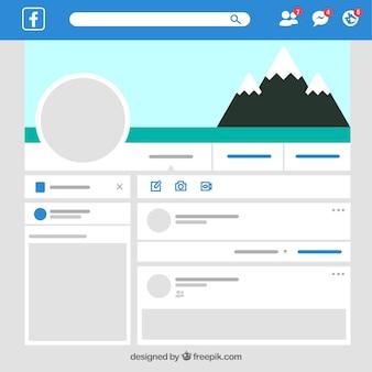 Interfejs internetowy facebook o minimalistycznym designie