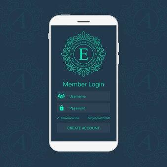 Interfejs logowania członka sieci na telefonie.