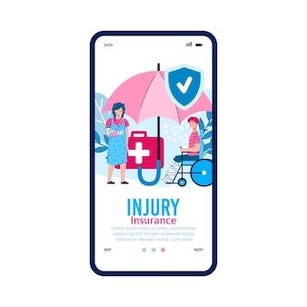 Interfejs mobilny na ekranie telefonu z aplikacją medyczną do ubezpieczenia wypadkowego.