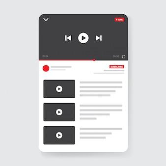 Interfejs mobilny odtwarzacza wideo. projekt interfejsu użytkownika dla mediów społecznościowych. okno telefonu transmisji na żywo