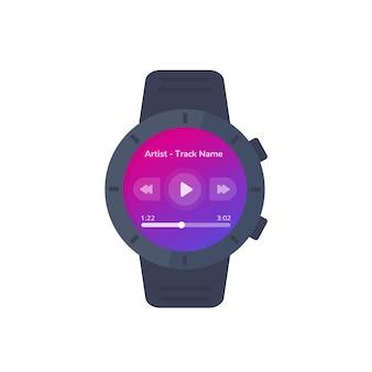 Interfejs odtwarzacza muzycznego dla inteligentnego zegarka, projekt interfejsu wektorowego