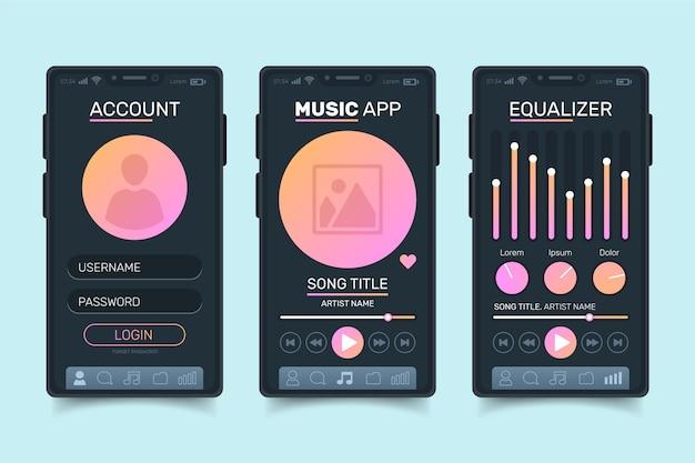 Interfejs odtwarzacza muzyki gradient różowy