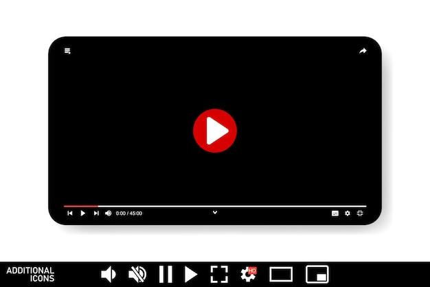 Interfejs odtwarzacza wideo na białym tle projekt szablonu przesyłania strumieniowego wideo dla witryny internetowej