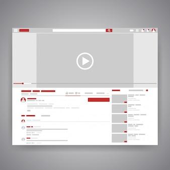 Interfejs odtwarzacza wideo youtube do mediów społecznościowych przeglądarki internetowej.