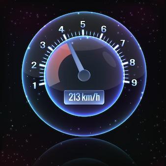 Interfejs prędkościomierza z cieniem świecącym i kolorowym na czarnym tle