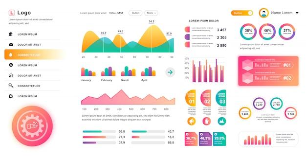 Interfejs pulpitu nawigacyjnego. szablon projektu panelu administracyjnego z elementami infographic