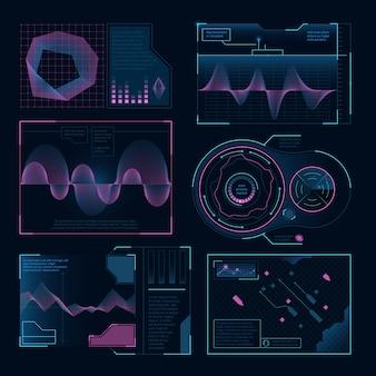Interfejs sieciowy nowoczesnych symboli cyfrowych. ustawiony na projekty