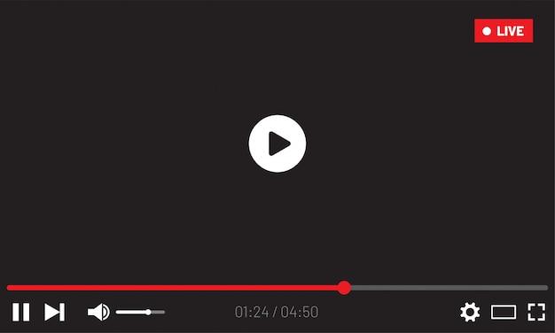 Interfejs sieciowy odtwarzacza wideo. projekt interfejsu użytkownika dla mediów społecznościowych. okno transmisji na żywo