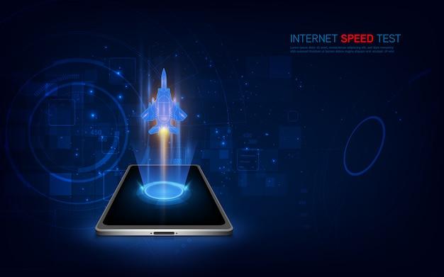 Interfejs smartfona do testu prędkości internetu. wifi, mobilny ekran wspomagający internet.