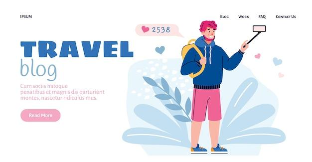 Interfejs strony internetowej dla bloga podróżniczego z ilustracją wektorową płaskiego kreskówki blogera