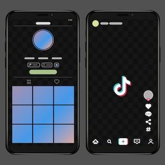 Interfejs tik tok screen w aplikacji społecznościowej. ikony aplikacji tiktok muzyka i wideo.