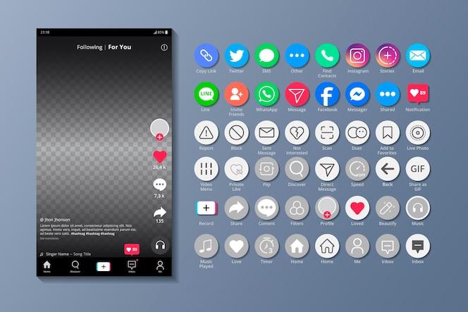 Interfejs tiktok i aplikacje na smartfony
