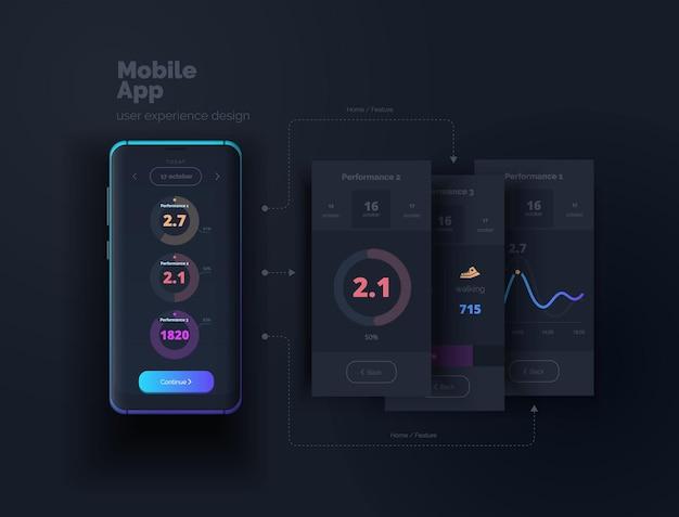 Interfejs użytkownika aplikacja mobilna tworzenie układu interfejsu użytkownika dla smartfona ilustracja doświadczenia użytkownika