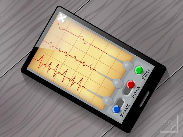 Interfejs użytkownika aplikacji sejsmograf. ekran i urządzenie, trzęsienie ziemi i fala, wykres sejsmiczny