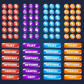 Interfejs użytkownika gry mobilnej, wektorowa kolekcja icong i przyciski
