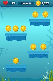 Interfejs użytkownika gry z ekranem platform