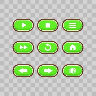Interfejs użytkownika gry z ekranem wyboru poziomu, w tym gwiazdkami, strzałkami, kluczami głównymi i przyciskiem strateg oraz elementami do tworzenia średniowiecznych gier wideo rpg, ilustracji wektorowych
