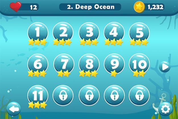 Interfejs użytkownika gry z ekranem wyboru poziomu
