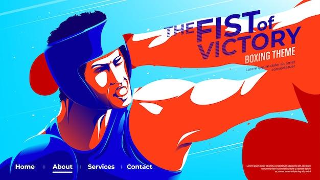 Interfejs użytkownika lub strona docelowa boksera-amatora, którą bokser w kolorze niebieskim uderza w swojego przeciwnika