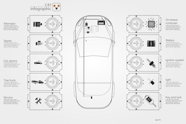 Interfejs użytkownika samochodów. streszczenie wirtualny graficzny dotykowy interfejs użytkownika. infografika samochodów. ilustracja wektorowa.