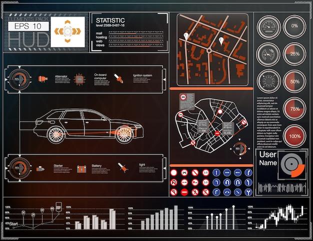 Interfejs użytkownika samochodu. interfejs mapy hud. streszczenie wirtualny graficzny interfejs użytkownika dotykowy.