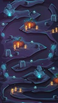 Interfejs użytkownika z przewijaniem pionowym mapy poziomu do testowania gier mobilnych.