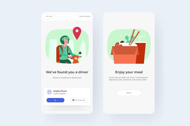 Interfejs użytkownika zamówienia dostawy żywności online dla obrazu wektorowego smartfona
