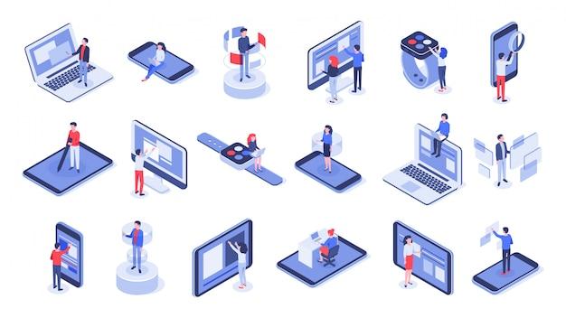 Interfejs użytkownika. zestaw online biura, interakcje z urządzeniami i dotykowe interfejsy mobilne