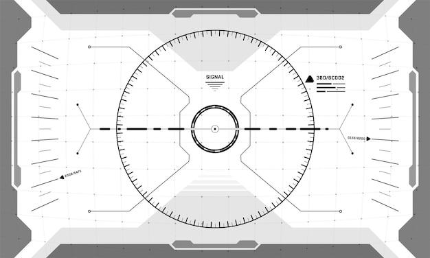 Interfejs vr hud celownik cyberpunk ekran czarno-biały design. futurystyczny wizjer z widokiem na wirtualną rzeczywistość science fiction. gui ui technologia cyfrowa panel deski rozdzielczej ilustracja wektorowa eps