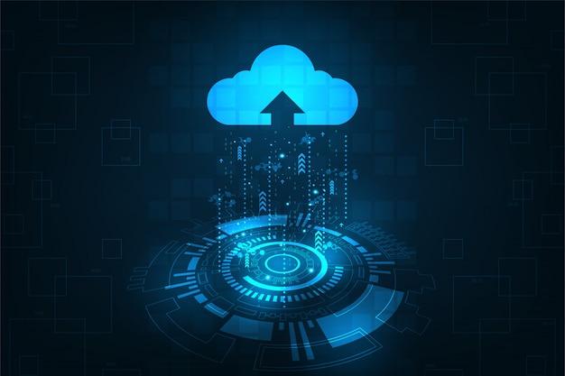 Interfejs w chmurze pokazujący przesyłanie danych do internetu.