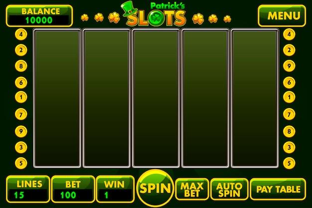 Interfejs wektorowy w stylu automatów st.patrick sw kolorze zielonym.