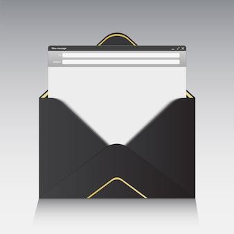 Interfejs wiadomości e-mail z panelem wysyłania formularza.
