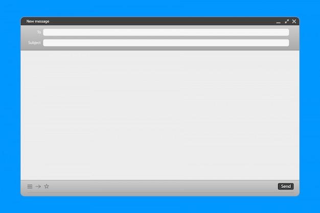 Interfejs wiadomości e-mail z panelem wysyłania formularzy.
