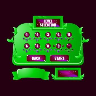 Interfejs wyboru poziomu interfejsu użytkownika w grze natura i galaretka dla elementów aktywów gui