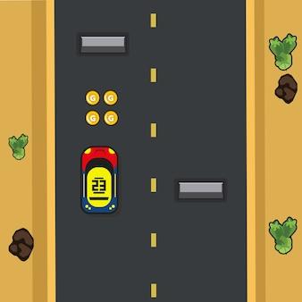 Interfejs z elementem gry wyścigowej lub gry drogowej