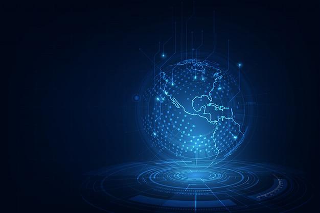 Interfejs ziemi nauki i technologii, scena science fiction, niebieskim tle technologii sieci świata