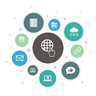 Internet infografika 10 kroków pixel design.ecommerce, media społecznościowe, strona internetowa, e-mail proste ikony