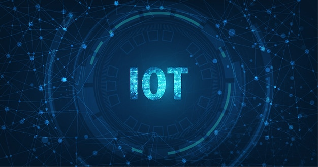 Internet of things (iot) concept.big data cloud computing sieć urządzeń fizycznych z bezpieczną łącznością sieciową na ciemnym niebieskim tle.